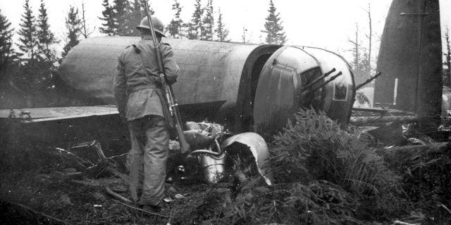 Ett av de allierade planen som sköts ner över Sverige. PRESSENS BILD / TT NYHETSBYRÅN