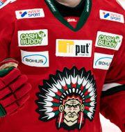 Den omdiskuterade loggan har funnits på klubbens tröjor i 25 år. Björn Larsson Rosvall/TT / TT NYHETSBYRÅN