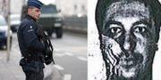 Belgisk polis i samband med att personer som misstänks vara inblandade i attackerna i Paris och Bryssel förhörs. Till vänster: Bild från en id-handling som Belkaid ska ha använt sig av TT
