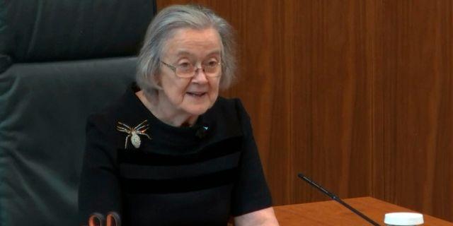 Domaren Brenda Hale förkunnade domen. TT NYHETSBYRÅN