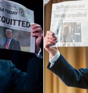 Donald Trump visade upp flera förstasidor på tidningar. TT