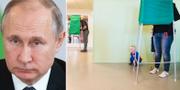 Vladimir Putin/röstning i Sverige. TT