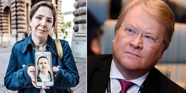 Ahmadreza Djalalis hustru håller upp en bild av maken/Lars Adaktusson. TT