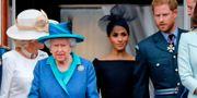 Drottning Elizabeth II med Meghan Markle och prins Harry. Arkivbild. TOLGA AKMEN / AFP