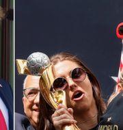 Donald Trump / Megan Rapinoe vid gårdagens parad.  TT / Bildbyrån