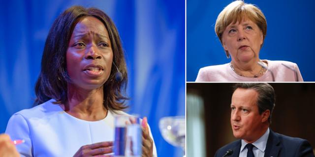 Nyamko Sabuni t.v. Angela Merkel och David Cameron t.h. TT