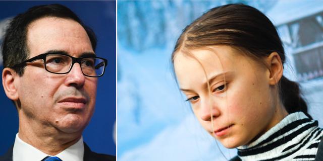 Steven Mnuchin och Greta Thunberg. TT