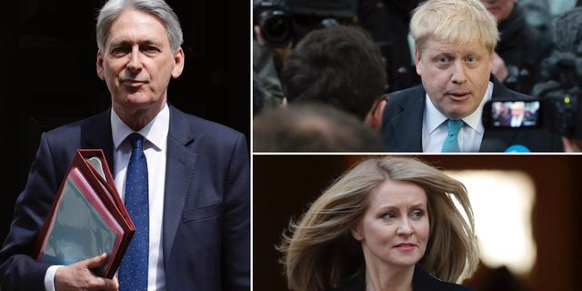 Philip Hammond, Boris Johnson och Esther McVey.  TT