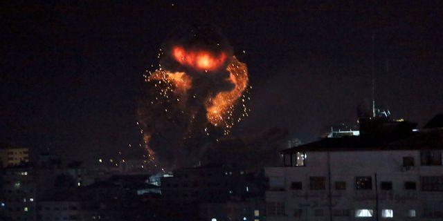 En explosion orsakad av ett israeliskt flygangrepp. Adel Hana / TT NYHETSBYRÅN/ NTB Scanpix