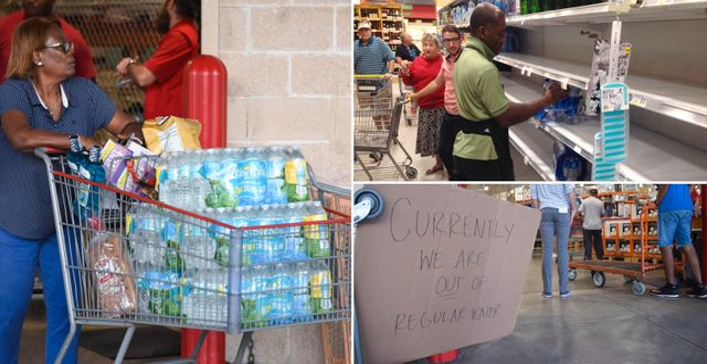 I flera affärer i Florida tog vattnet slut när människor förberedde sig för orkanen Irma TT/AFP