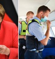 T.v: Tysklands förbundskansler Angela Merkel. T.h: Personal kontrollerar att pasagerare bär munskydd på ett tåg i Berlin.  TT