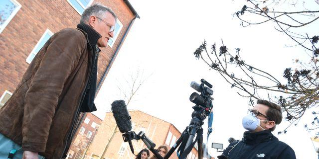 Anders Tegnell intervjuas.  Fredrik Sandberg/TT / TT NYHETSBYRÅN