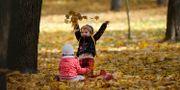 Barn leker i höstvädret. Sergei Grits / TT NYHETSBYRÅN/ NTB Scanpix
