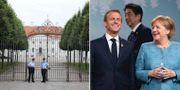 Angela Markel tar emot sin franske ministerkollega Emmanuel Macron.  LUDOVIC MARIN / AFP / Justin Tang / TT / NTB Scanpix