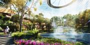Fjärilsträdgården är fylld av växter, promenadstråk och vatten. Singapore Changi Airport