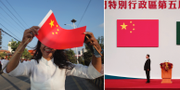 En kvinna i Nepal med en kinesiska flagga/Kinas ledare Xi Jinping. TT
