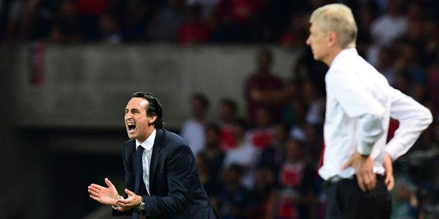 Arkivbild: Dåvarande PSG-coachen Unai Emery i samband med en match mot Arsenal. FRANCK FIFE / AFP