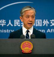 Kinesiska utrikesdepartementets talesperson Wang Wenbin. Mark Schiefelbein / TT NYHETSBYRÅN