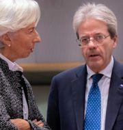 Gentiloni och ECB-chefen Christine Lagarde. Olivier Matthys / TT NYHETSBYRÅN