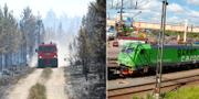 Brandbil i Värmland och tågvagn från Green Cargo. TT.