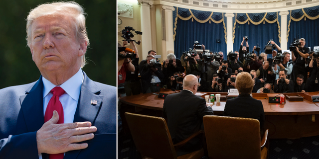 Donald Trump och bild från de pågående riskrättsförhören. TT