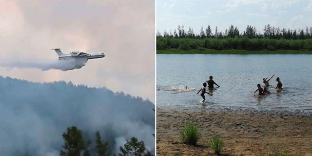 Brandflygplan hjälper till att släcka skogsbränder i Sibirien/ Barn badar i den nordligt belägna delrepubliken Sacha TT/AP