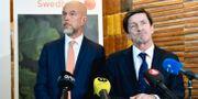 Swedbanks tillförordnade vd Anders Karlsson och styrelseordförande Lars Idermark på dagens presskonferens.  Henrik Montgomery/TT / TT NYHETSBYRÅN