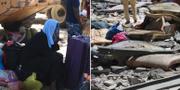 Bilder från migrantlägret där över 40 dödades i ett luftangrepp.  TT