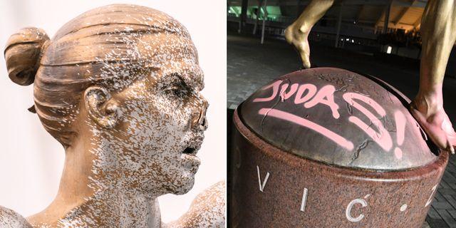 Den vandaliserade statyn.  TT