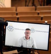 Arkivbild: Folkhälsomyndighetens statsepidemiolog Anders Tegnell under en digital pressträff i somras.  Janerik Henriksson/ TT / TT NYHETSBYRÅN