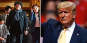 """Till vänster: Skådespelare i filmen """"Parasit"""". Till höger: USA:s president Donald Trump.  TT"""