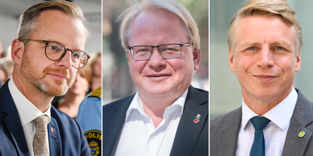 Mikael Damberg (S), Peter Hultqvist (S) och Per Bolund (MP). Arkivbilder. TT
