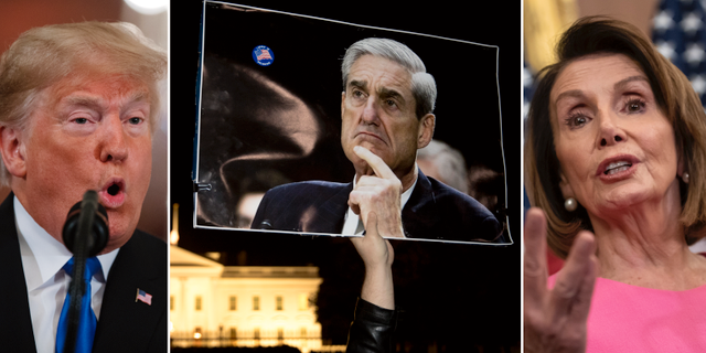 Arkivbilder: Trump, Mueller, Pelosi. TT