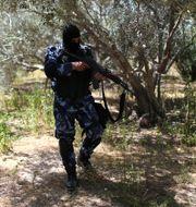 Styrkor ur den Palestinska säkerhetstjänsten som är lojala med Hamas syns under jakten på den misstänkte.  IBRAHEEM ABU MUSTAFA / TT NYHETSBYRÅN