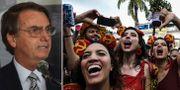 Bolsonaro/besökare på karnevalen. TT