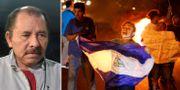 Nicaraguas president Daniel Ortega/En demonstrant i Managua.  TT
