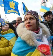 Demonstranter i Kiev inför toppmötet, med budskapet att Ukraina inte ska kapitulera till Ryssland.  SERGEI SUPINSKY / AFP