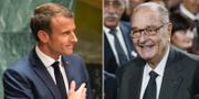 Emmanuel Macron den avlidne Jacques Chirac. TT
