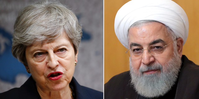 Storbritanniens premiärminister Theresa May och Irans president Hassan Rouhani. TT
