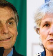 Jair Bolsonaro/Pia Sundhage.  TT/Bildbyrån.