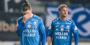 Trelleborgs Isak Jönsson och Lasse Nielsen besvikna efter måndagens fotbollsmatch i allsvenskan mellan Trelleborgs FF och Östersunds FK på Vångavallen. Andreas Hillergren/TT / TT NYHETSBYRÅN