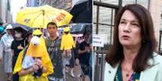 Demonstranter i Hongkong, utrikesminister Ann Linde TT