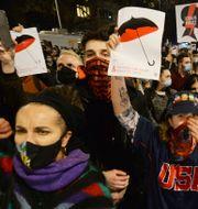 Demonstranter den 23 oktober. Czarek Sokolowski / TT NYHETSBYRÅN