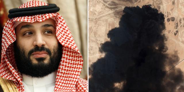 Saudiarabiens kronprins Mohammed bin Salman samt bild från helgens attack. TT