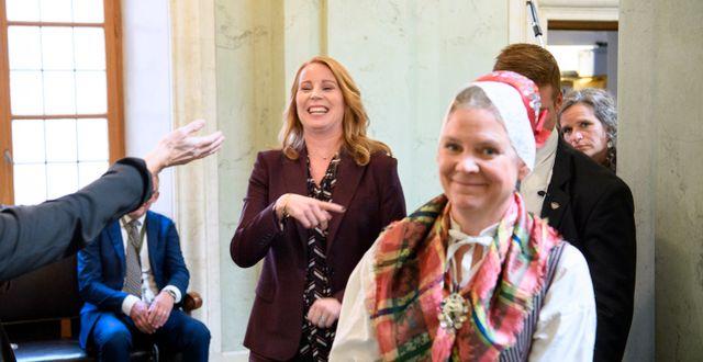 Centerns partiledare Annie Lööf och finansminister Magdalena Andersson. Henrik Montgomery/TT / TT NYHETSBYRÅN