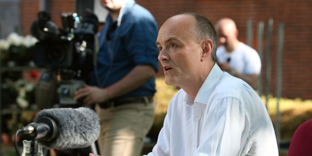 Dominic Cummings vid pressträffen. Jonathan Brady / TT NYHETSBYRÅN