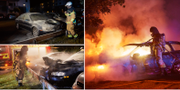Släckningsarbete vid bilbränder i Lund den 25 juli TT