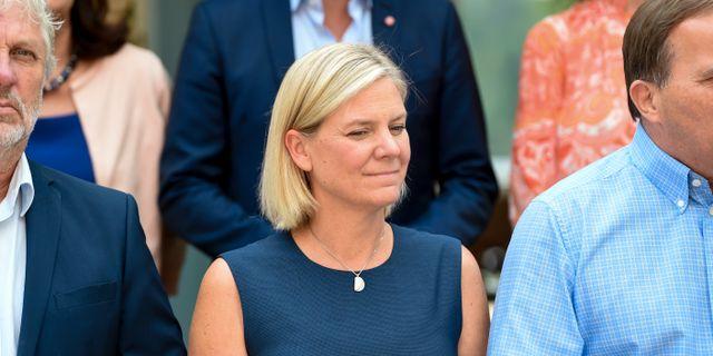 Magdalena Andersson (S) och resten av ministrarna i Harpsund på torsdagen.  Henrik Montgomery/TT / TT NYHETSBYRÅN