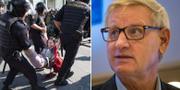 Bild från protesterna igår, samt en bild på Carl Bildt (M). TT