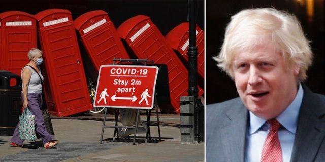 Kvinna på gatan/Boris Johnson.  TT